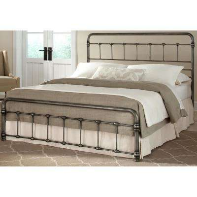 Fremont Weathered Nickel California King Snap Bed with Rounded Edge Panels and Folding Metal Side Rails
