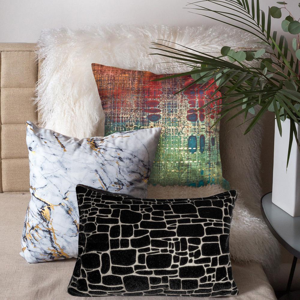 Precious Metals Supernova Black/Silver Polyester Indoor Decorative Pillow