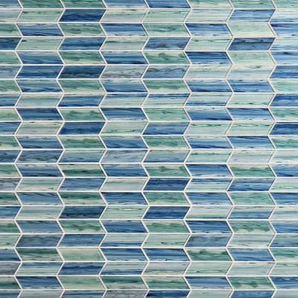 Tara Sea Green 11.73 in. x 11.74 in. Chevron Glass Mosaic Tile (0.96 Sq. Ft. / Sheet)