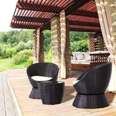 3-Piece Rattan Patio Conversation Set with White Cushions