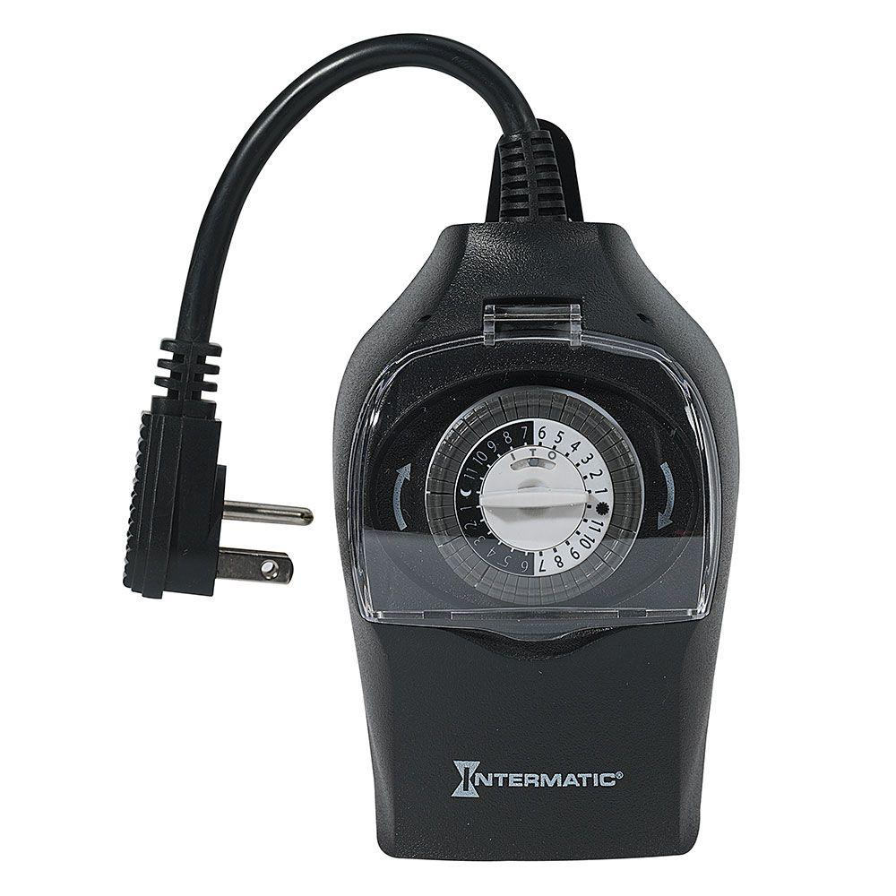 Light Timer Home Depot: Intermatic 15 Amp Outdoor Plug-In Timer-HB31K