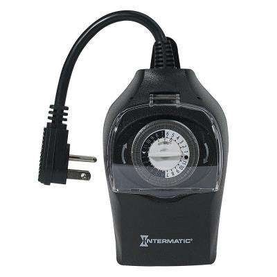 10 Amp 24-Hour Outdoor Plug-In Timer, Black