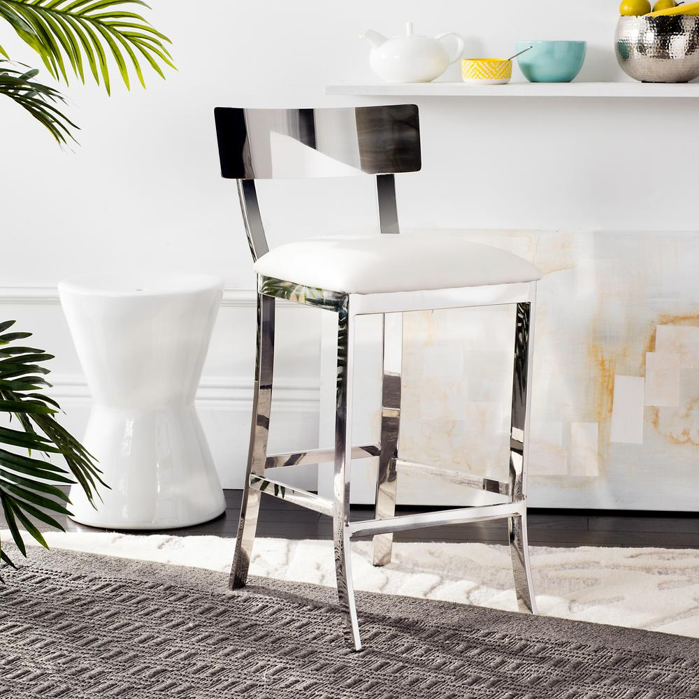 Stainless Steel Counter Stool In White