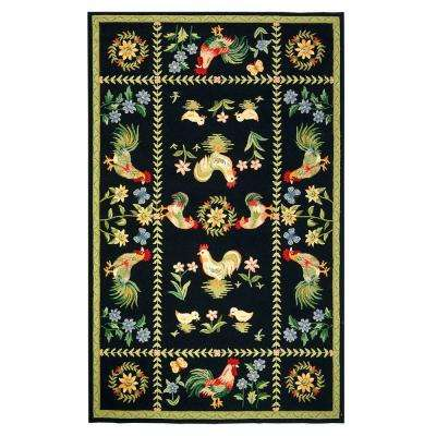 Spring on the Farm Black 5 ft. 3 in. x 8 ft. 3 in. Area Rug