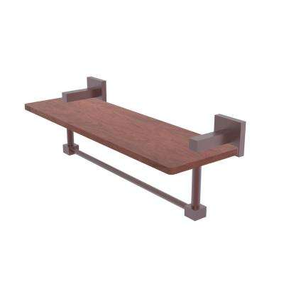 Montero Collection 16 in. Solid IPE Ironwood Shelf with Integrated Towel Bar in Antique Copper