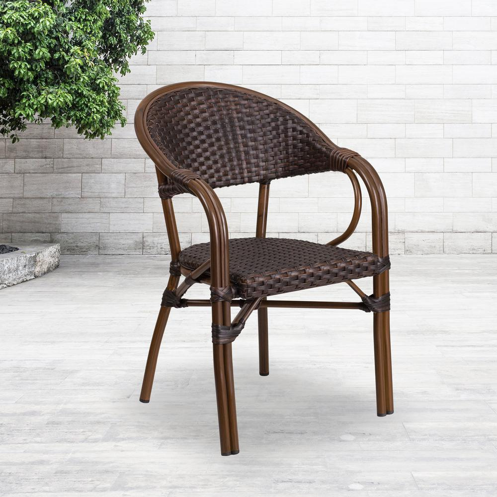 Carnegy Avenue Metal Outdoor Dining Chair in Dark Brown Rattan/Red  Bamboo-Aluminum Frame