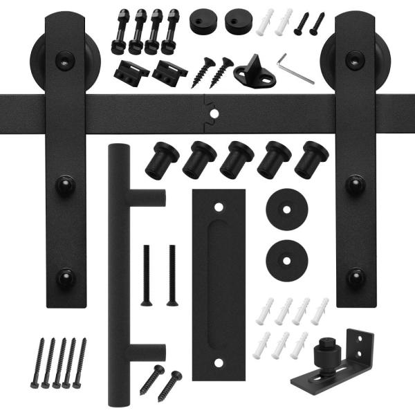 6 ft./72 in. Black Steel Strap Sliding Barn Door Track and Hardware Kit with 12 in. Cylinder Handle and Floor Guide