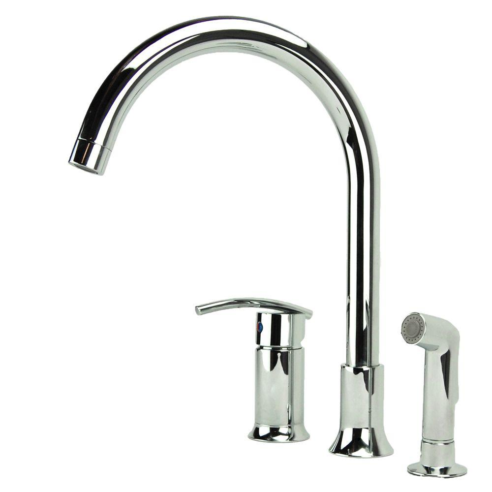 Vincennes Single Handle Standard Kitchen Faucet With Side Sprayer In Chrome
