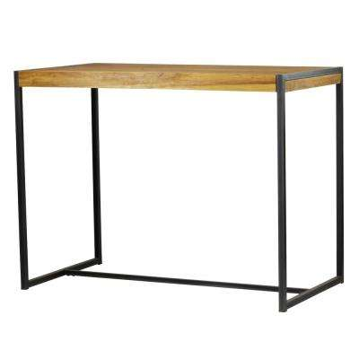 Sumatra Industrial Metal Solid Natural Teak Wood Bar Table
