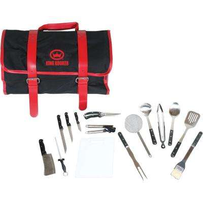 15-Piece Tailgating Grill Tool Set with Black and Red Carrying Case