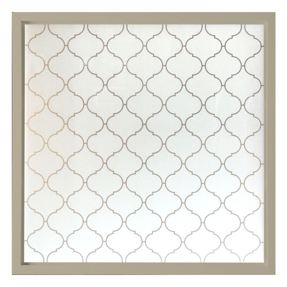 Hy-Lite 47.5 in. x 47.5 in. Baroque Decorative Glass Picture Vinyl Window - Tan