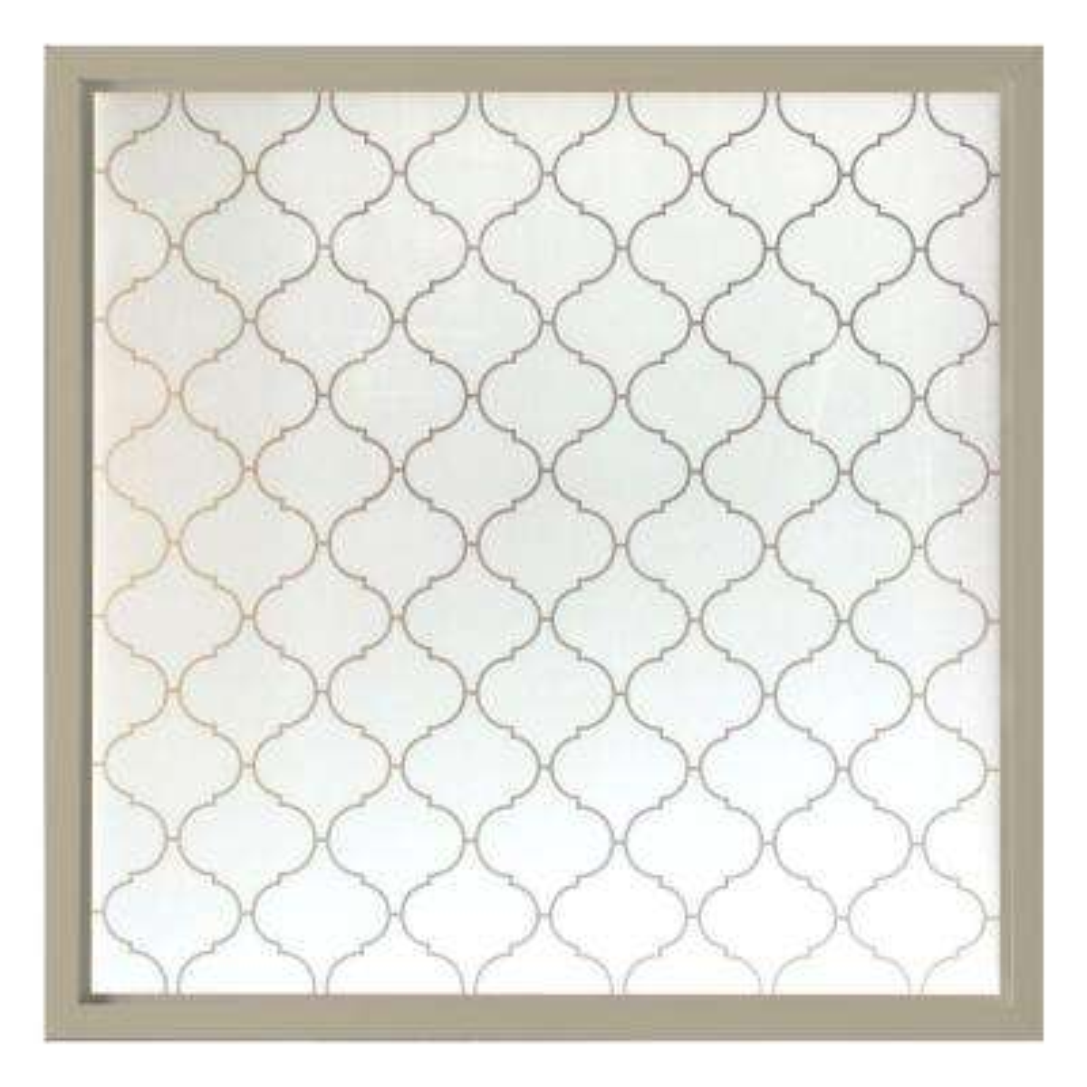 47.5 in. x 47.5 in. Baroque Decorative Glass Picture Vinyl Window - Tan