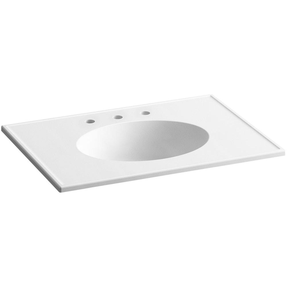 Ceramic/Impressions 31 in. Vitreous China Vanity Top with Basin in White