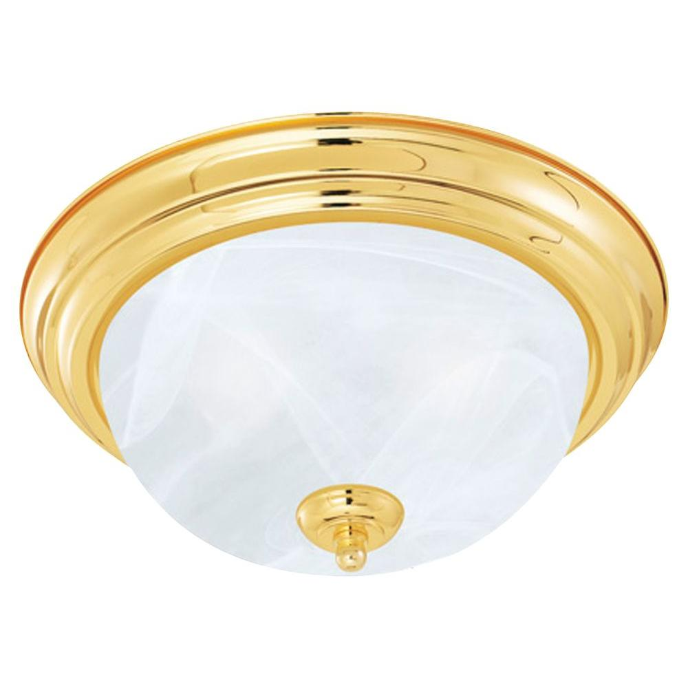 Thomas Lighting 1-Light Flush Polished Brass Ceiling Fixture-DISCONTINUED