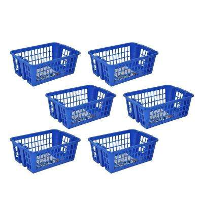 Medium Stackable Storage Basket in Blue (6-Pack)