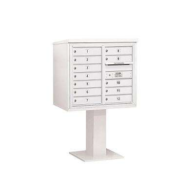 3400 Series 55-1/8 in. 7 Door High Unit White 4C Pedestal Mailbox with 12 MB1 Doors