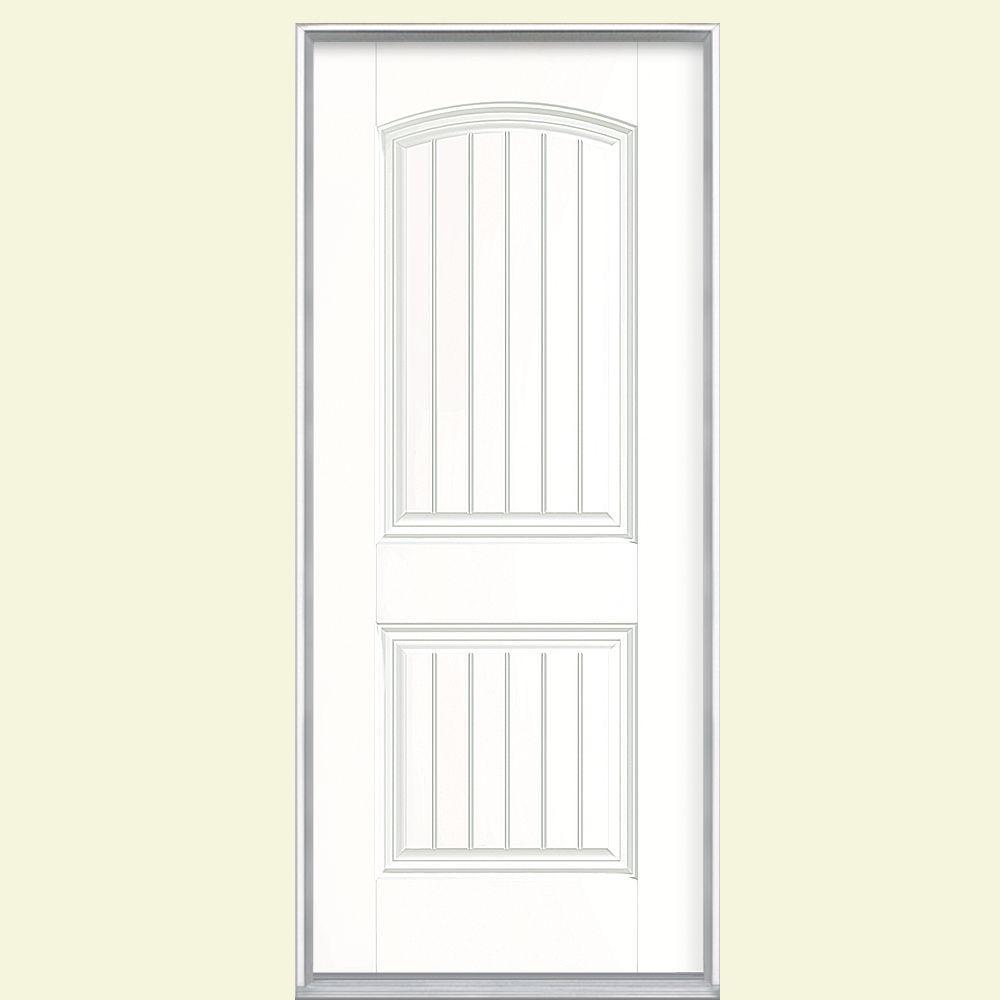 36 in. x 80 in. Cheyenne 2-Panel Left Hand Inswing Painted Smooth Fiberglass Prehung Front Door No Brickmold