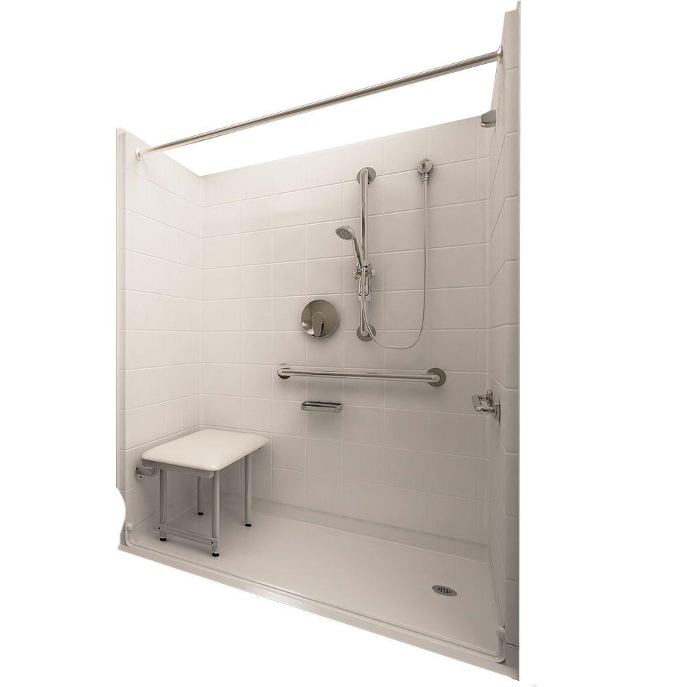 Ella Deluxe 33-4/12 in. x 60 in. x 77-1/2 in. 5-piece Barrier Free Roll In Shower System in White with Right Drain