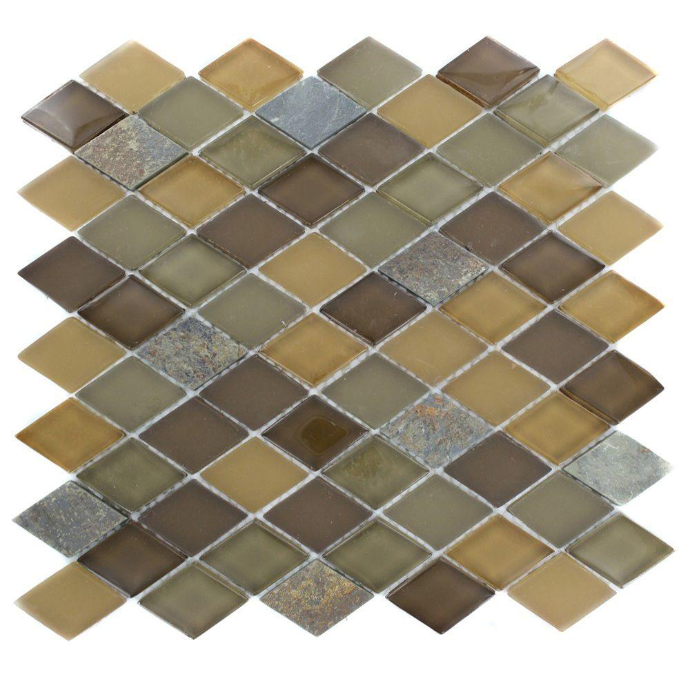 Splashback Tile Tectonic Diamond Multicolor Slate and Earth Blend 12 in. x 12 in. x 8 mm Glass Mosaic Floor and Wall Tile