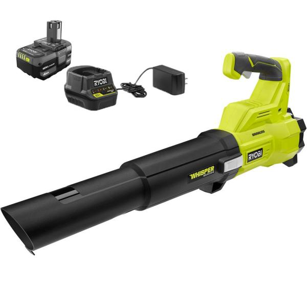 110 MPH 410 CFM ONE+ 18-Volt Brushless Lithium-Ion Cordless Variable-Speed Jet Fan 4Ah Battery Blower & Charger Included