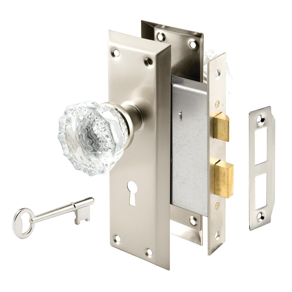 Prime-Line Classic Bronze Mortise Lock Set with Glass Knobs-E 2497 ...