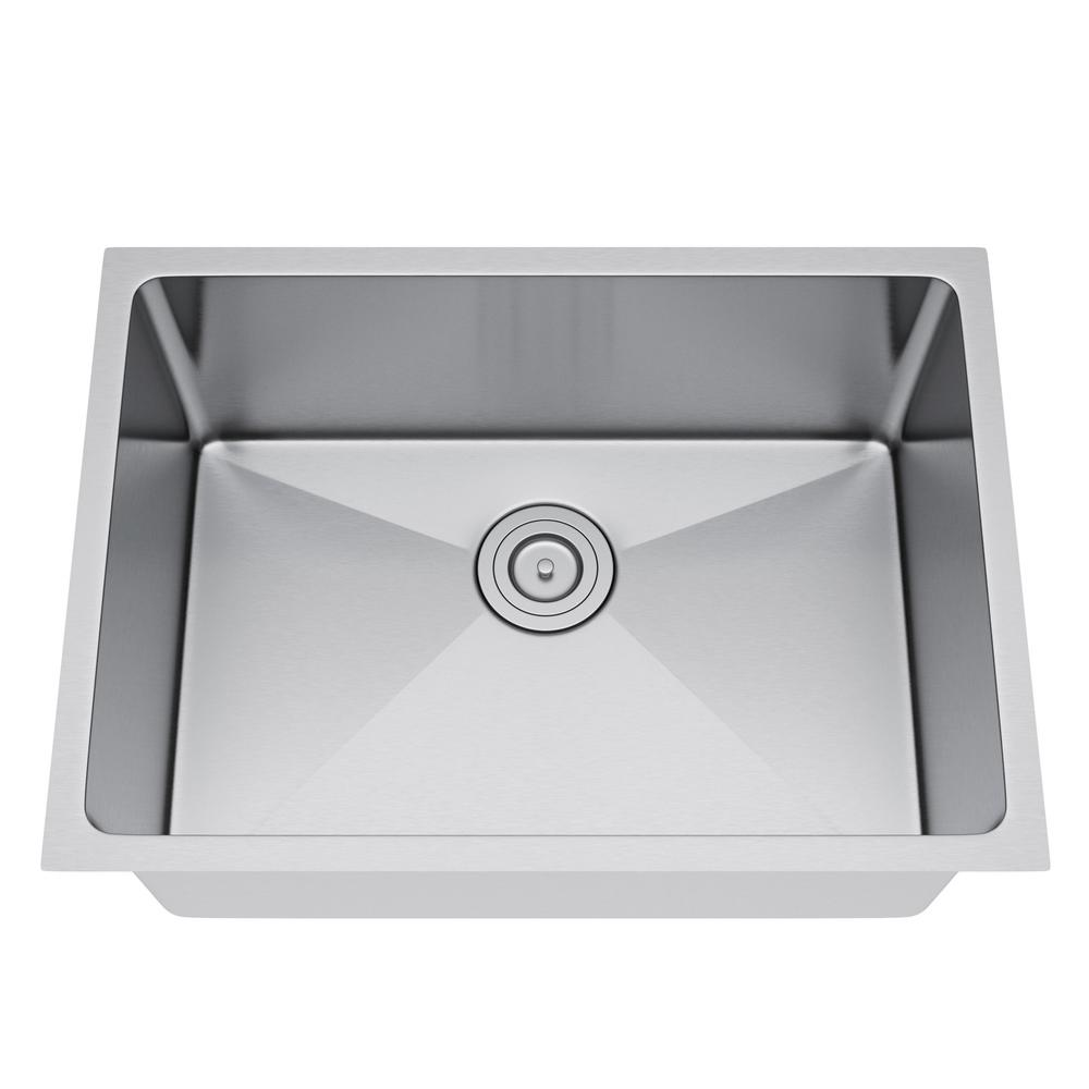 All-in-One Undermount Stainless Steel 25 in. Single Bowl Kitchen Sink in