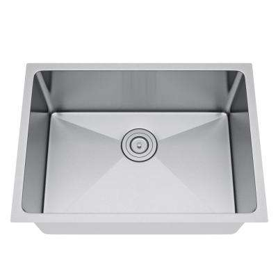 All-in-One Undermount Stainless Steel 25 in. Single Bowl Kitchen Sink in Satin Stainless Steel