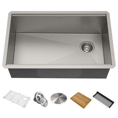 Kore Workstation 32 in. 16-Gauge Undermount Single Bowl Stainless Steel Kitchen Sink w/ Integrated Ledge and Accessories