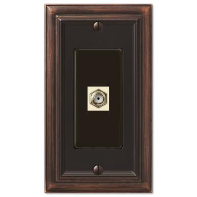 Continental 1 Gang Coax Metal Wall Plate - Aged Bronze