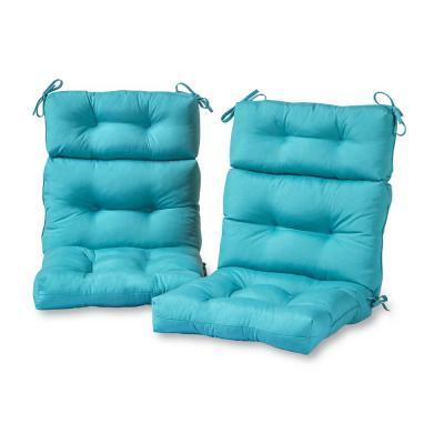 Solid Teal Outdoor High Back Dining Chair Cushion (2-Pack)