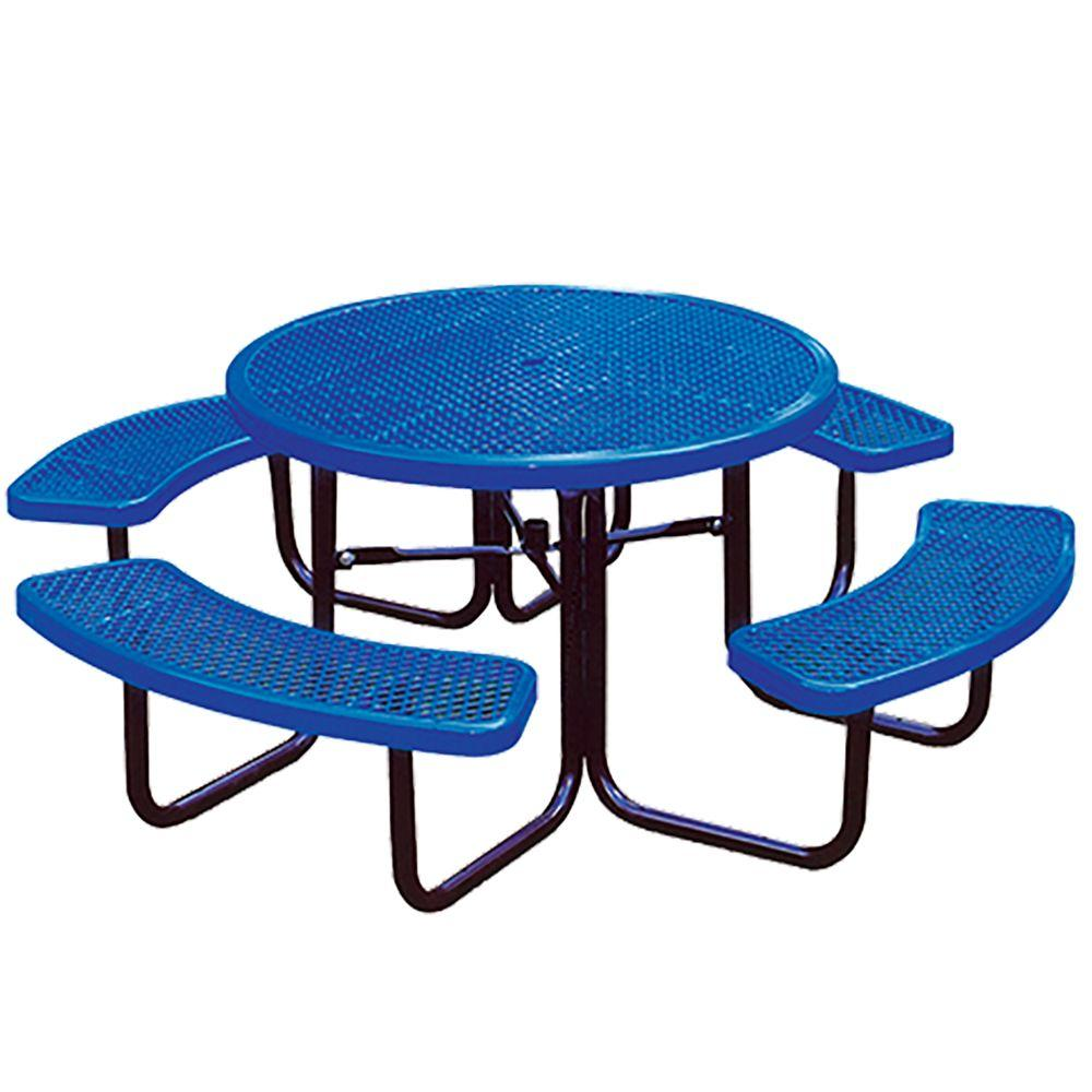 Null Portable Blue Diamond Commercial Round Picnic Table