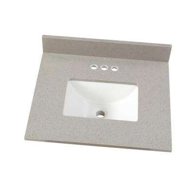 25 in. W x 22 in. D Engineered Quartz Vanity Top in Sterling Grey with White Single Trough Sink