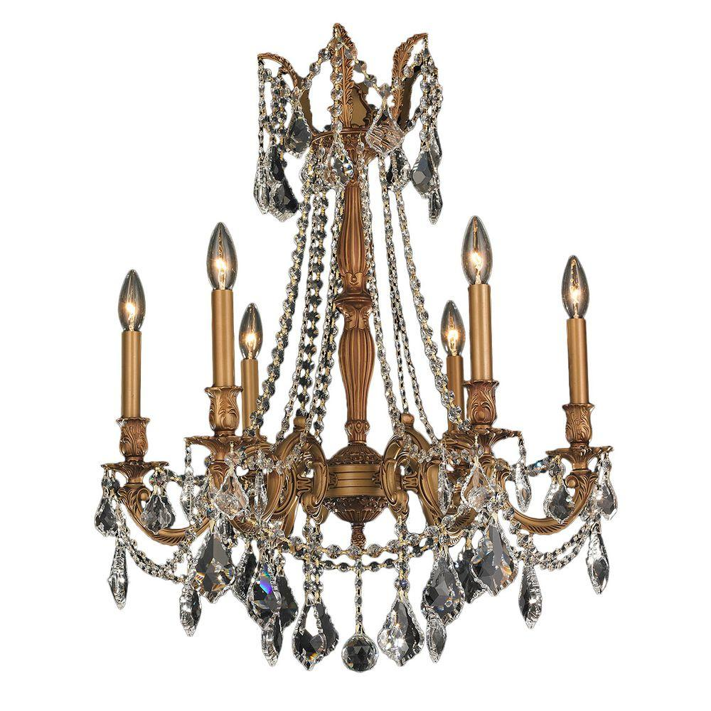 Worldwide Lighting Windsor 6-Light French Gold and Clear Crystal Chandelier