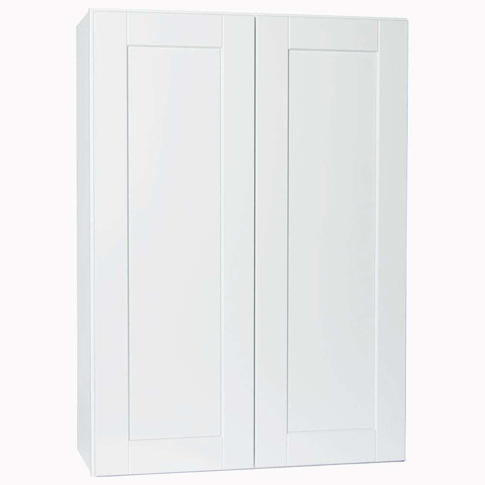 Hampton Bay Shaker Assembled 30x42x12 In Wall Kitchen Cabinet In Satin White Kw3042 Ssw The