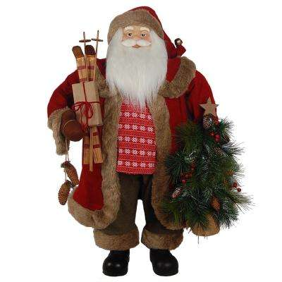36 in. Christmas Santa with Skis and Tree