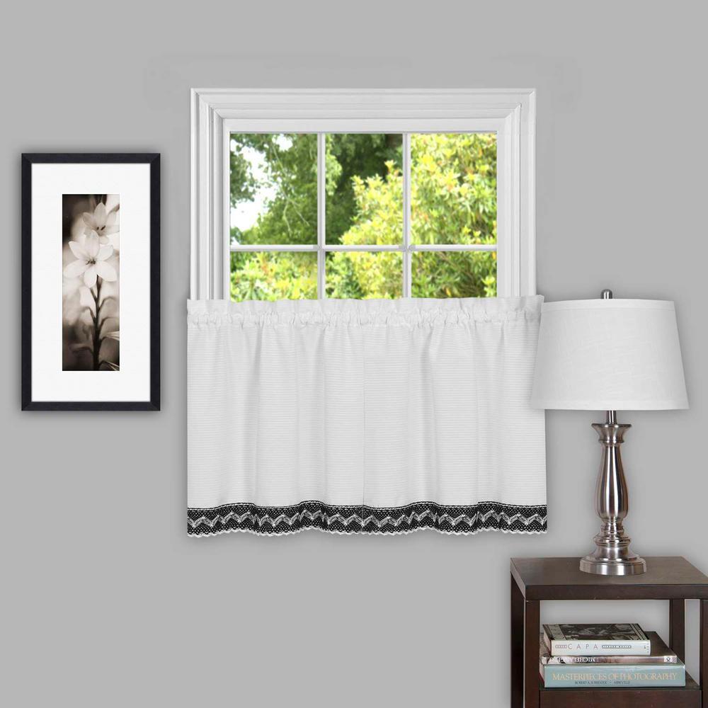 Sheer Camden Black Window Curtain Tier Pair - 58 in. W x 24 in. L