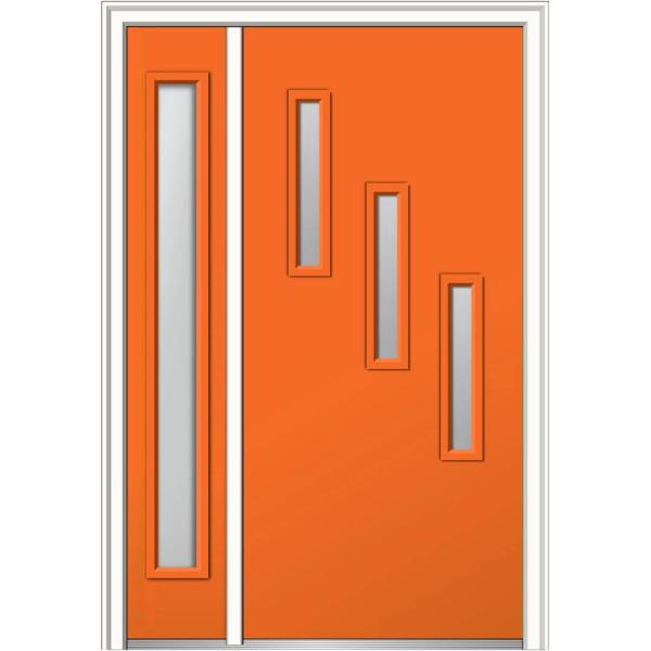 Mmi Door 51 In X 81 75 In Davina Clear Low E Glass Right Hand 3 Lite Modern Painted Steel Prehung Front Door With Sidelite Z0354832r The Home Depot