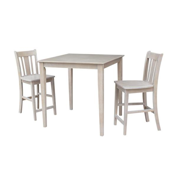 Skylar 3-Piece 36 in. Weathered Taupe Square Solid Wood Dining Set with San Remo Chairs