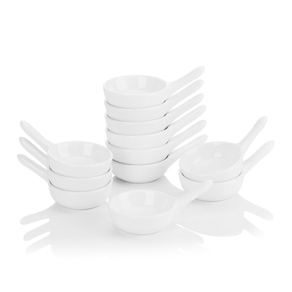 3.75 in. White Porcelain Ramekins Serving Dishes Set (Set of 12)