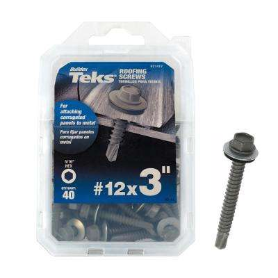 #12 x 3 in. Hex-Washer-Head Roofing Screw with Washer (40-pieces per Pack)