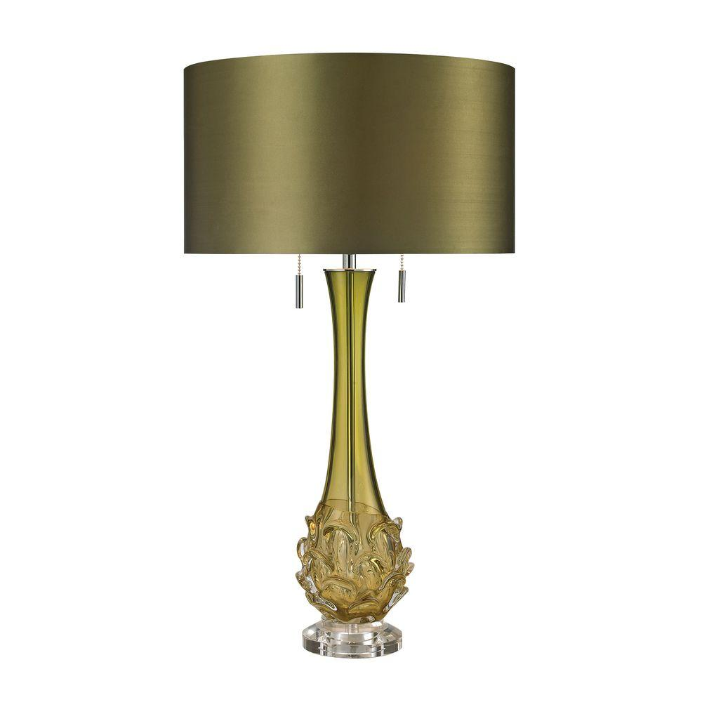 Titan Lighting Vignola 28 In. Green Free Blown Glass Table Lamp
