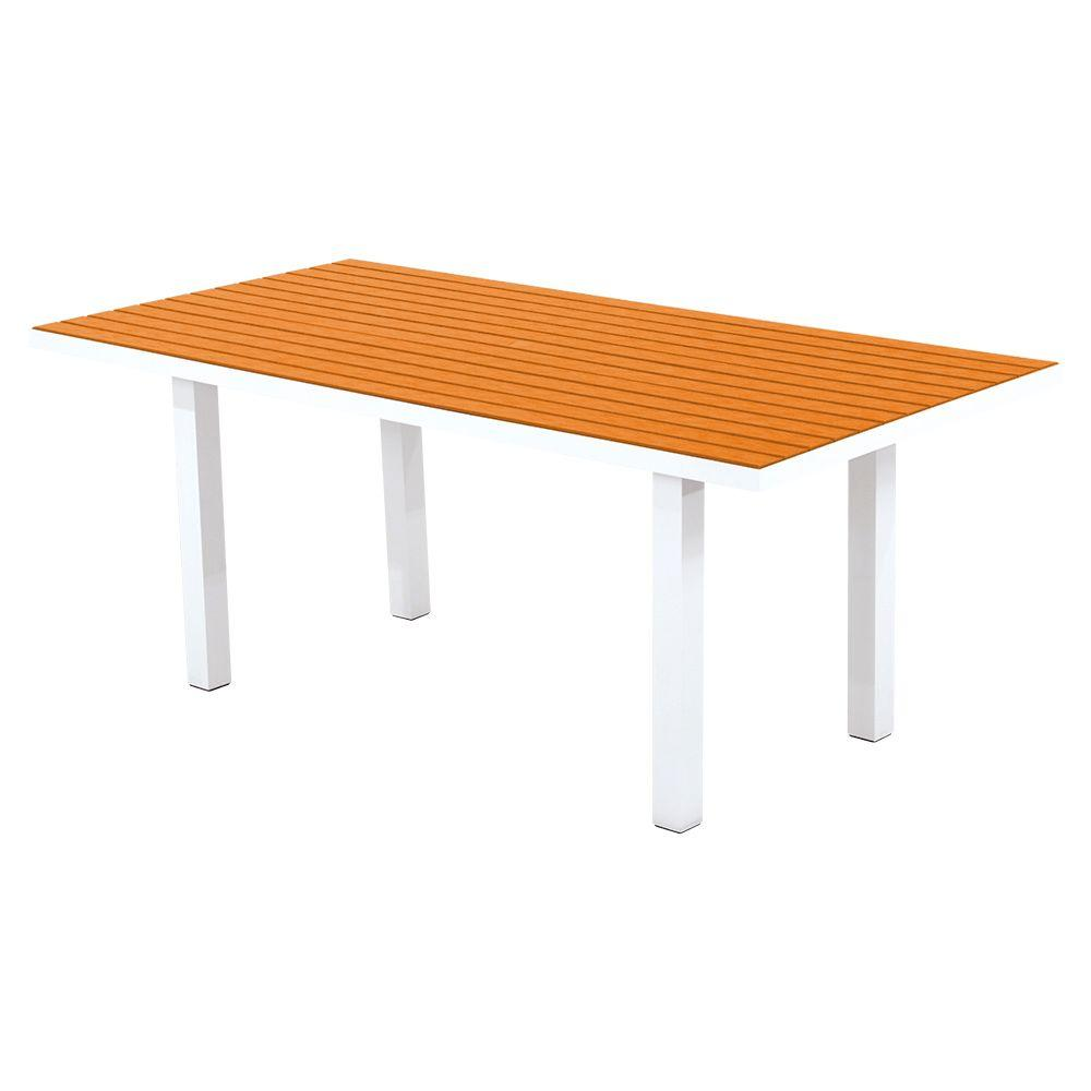 Euro Satin White/Tangerine 36 in. x 72 in. Patio Dining Table