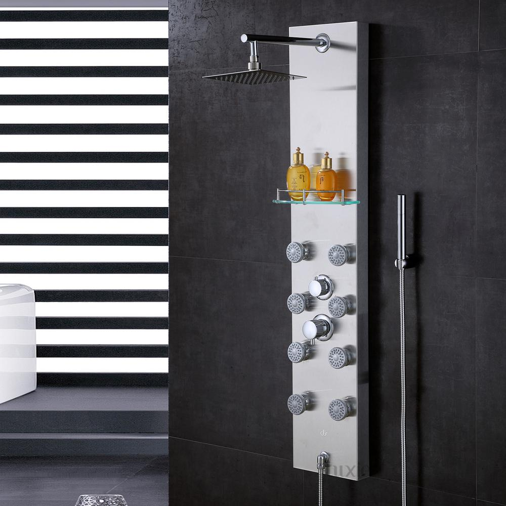Luxier 51 in. Stainless Steel Rainfall Shower Panel Tower Rain ...