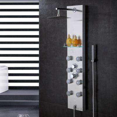 51 in. Stainless Steel Rainfall Shower Panel Tower Rain Massage System Faucet with Jets, Hand Shower, & Glass Shelf