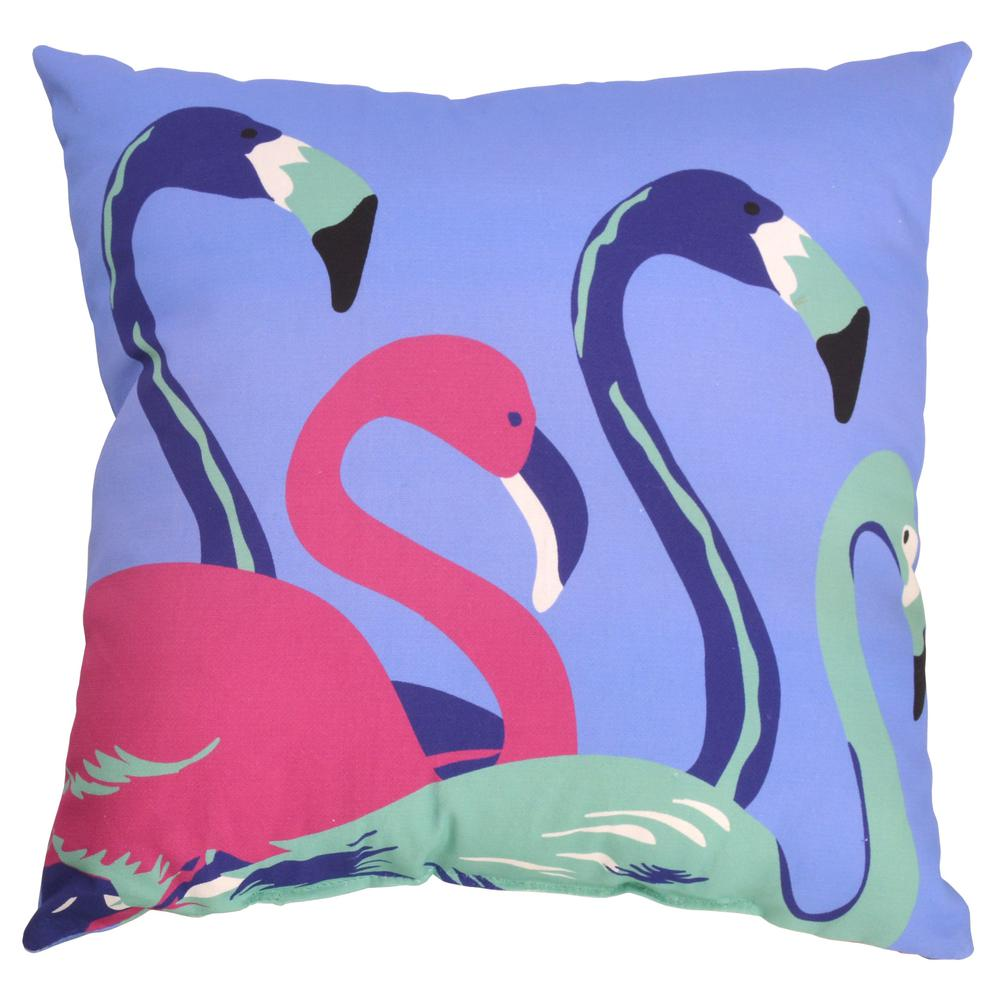 Hampton Bay Mariner Flamingo Square Outdoor Throw Pillow