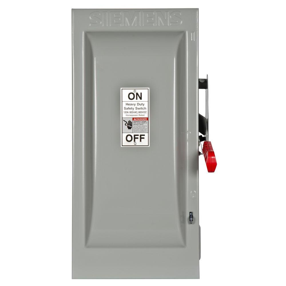 Heavy Duty 100 Amp 600-Volt 3-Pole Indoor Fusible Safety Switch with