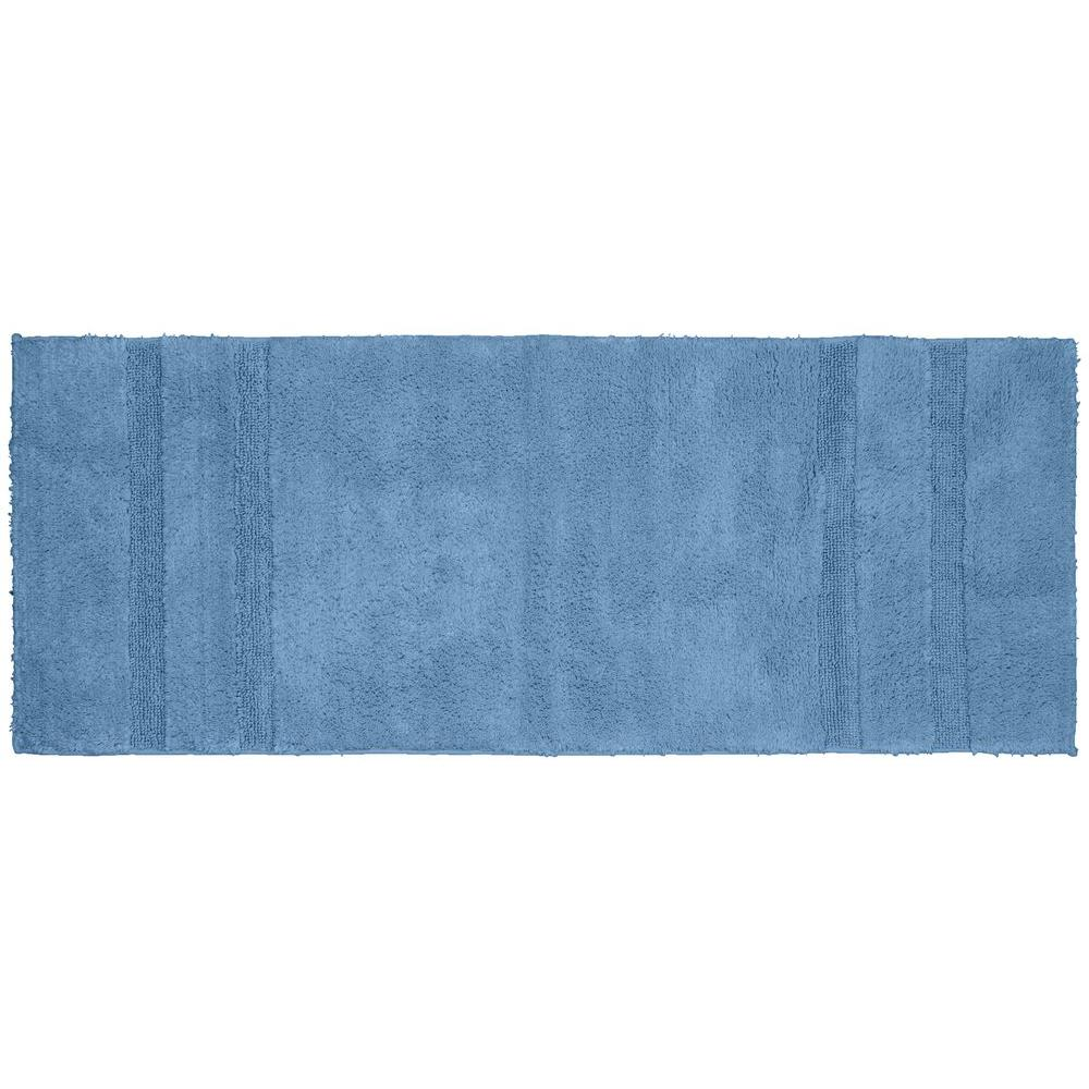 Garland Rug Majesty Cotton Sky Blue 22 in. x 60 in. Washable Bathroom Accent Rug