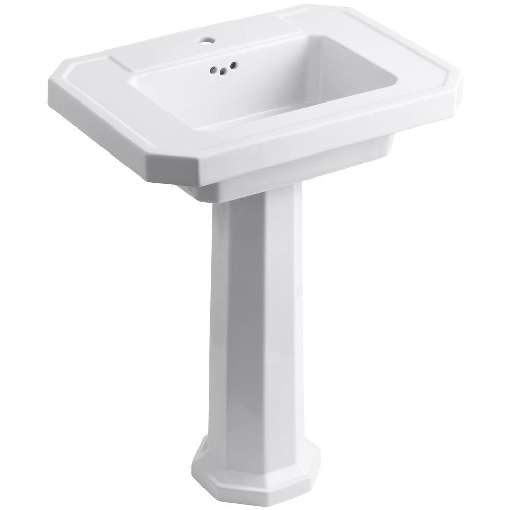 KOHLER Kathryn Fireclay Pedestal Combo Bathroom Sink in White with Overflow Drain