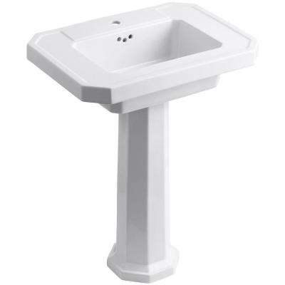 Kathryn Fireclay Pedestal Combo Bathroom Sink in White with Overflow Drain