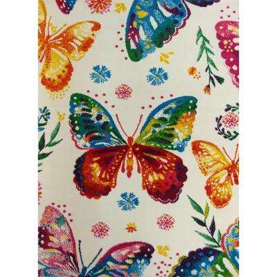 Multi Color Kids Children and Teen Bedroom and Playroom Rainbow Butterfly Design 5 ft. x 7 ft. Area Rug